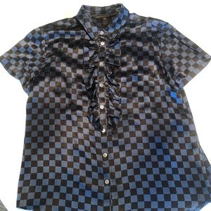 Marc by Marc Jacobs silk checkered blouse.